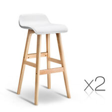 Set of 2 Bentwood Bar Stool Wooden Barstool Dining Chair Kitchen Leather White