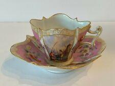 Antique Dresden Porcelain Hand Painted Quatrefoil Cup and Saucer