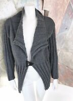 Art To Wear Grey Wool Womens Cardigan Lagenlook Chunky Knit Sweater Size Large