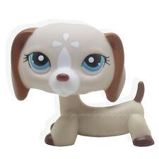 #1491 Rare Littlest Pet Shop Tan Cream Dachshund Dog Blue Eyes Animal LPS Toy
