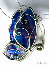 Stained Glass Blue Iridescent Butterfly S/V sun catcher