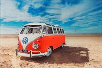 VW Camper Van Surf Glass Wall Art 30 X 20cm Decorative Picture - Red Shore