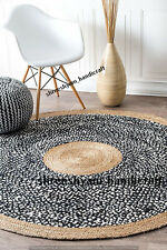 5 Feet Handmade Rug Braided Cotton&Jute Floor Round Hand Woven Floor Carpet Mat