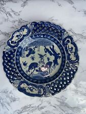 Chinese Antique Blue and White Porcelain Pierced plate animals 4 Character Mark