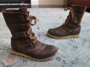 SOREL SIZE 86 WOMENS BROWN LEATHER SCOTIA WATERPROOF LACE UP BOOTS