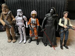 "Disney Star Wars 12"" Action Figures X5 Bundle Han Solo Chewbacca Luke Kylo Ren"