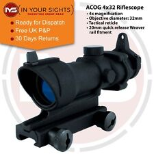 Airsoft ACOG style rifle scope + Iron sights / 4x32 Tactical sight / 20mm Rail