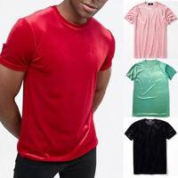 Mens Womens Velvet Short Sleeve T-Shirt Crew Neck Velour Top Tee Shirt Soft Slim