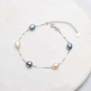 ZARD Baroque Cultured Freshwater Pearl Station Bracelet in 925 Sterling Silver