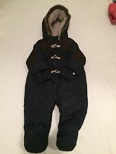 Navy blue faux fur & leather quilted  warm snowsuit baby boys clothes 6-9 Months