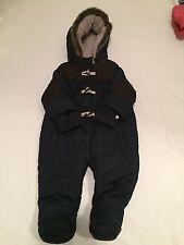 Blu Navy in pelliccia sintetica & Leather Trapuntato Caldo Da Neve Completo Da Baby Boys vestiti 6-9 mesi