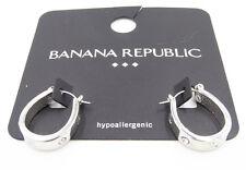 New Banana Republic Silver Tone Horseshoe Shape Earrings with Rhinestones #BRE61