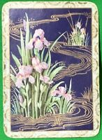 Playing Cards 1 Single Swap Card - Old Antique Wide Non-Rev IRIS FLOWERS Flower