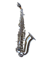 NEW SILVER CURVED SOPRANO SAXOPHONE SAX W/CASE-QUALITY+ WARRANTY.