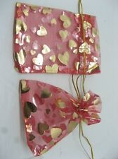 100X Red Drawstring Jewelry Gift Pouches 9x12cm
