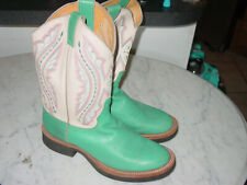 Womens Justin L5035 Turquoise Western Cowgirl Round Toe Leather Boots! Size 8.5