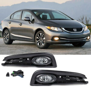 For 2013-2015 Honda Civic 4Dr Sedan Front Fog Lights Lamps+Covers w/Switch