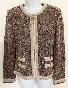 ST JOHN Collection Marie Gray Full Zip Jacket Knit Fringe Metallic Bronze Sz 6