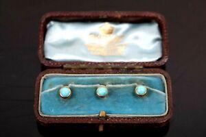 Antique 18 ct Gold Collar Studs Turquoise Skinner Silversmith London Circa 1890