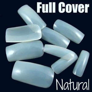 SQUARE FULL COVER *NATURAL* Press On Medium Nail Tips! **YOU CHOOSE QTY!**