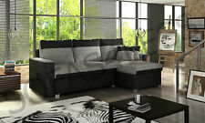 new flavio faux leather & fabric corner sofa bed settee storage black grey white
