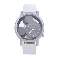 Top Quality Women Mickey Mouse Watch Leather Strap Quartz Dress Wristwatch White