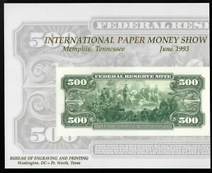 US $500 Souvenir Card - 1993 - BEP B 171 - Scott NSC69 - IPMS 1993 - Mint!