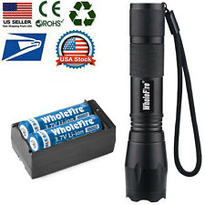 T6 LED Flashlight +2pc 18650 Li-ion Battery Rechargeable Batteries +Dual Charger