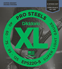 D'ADDARIO EPS220-5 PROSTEELS BASS STRINGS, SUPER LIGHT GAUGE 5's - 40-125