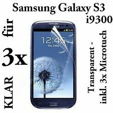 3x SAMSUNG GALAXY S3 9300 DISPLAY SCHUTZFOLIE FOLIE SCREEN PROTECTOR FOLIE KLAR