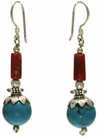 Vintage Style Turquoise Coral earrings jewelry genuine sterling silver Artisan