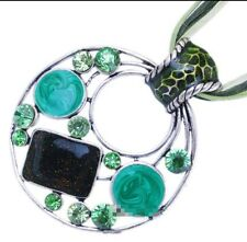Ladies Hollow Round Alloy Green Glass Rhinestone Pendant Charm Necklace