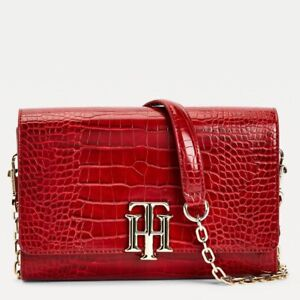 Tommy Hilfiger Lock Crossover Croc Bag  Red