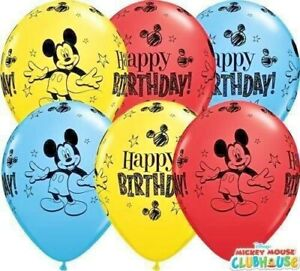 DISNEY MICKEY MOUSE  'HAPPY BIRTHDAY' BALLOONS - Choose quantity CHILDRENS PARTY
