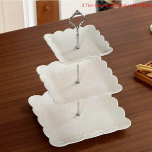 3 Tier Glass Cake Stand Afternoon Tea Wedding Plate Party Tableware Stand UK~~