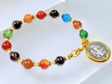 Beautiful St Benedict Silver Gold Coin Medal Charm Multi Agate Bead Bracelet