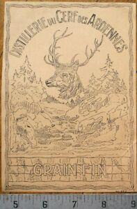 Deer/Stag - Printer's Proof 1930s Bottle Label- Distillerie du Cerf des Ardennes