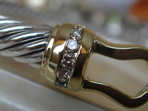 DAVID YURMAN 18K , SS PRINCESS COLLECTION DIAMOND BUCKLE BRACELET SMALL