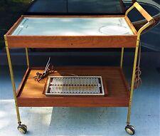 MCM Vtg Danish Modern Teak Salton Serving Rolling Hot Tray Cart + Bonus Tray