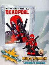 Deadpool MINIFIGURE wMini Movie Poster Display Case Lego Custom Minifig 075b x