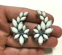 Massive Vintage signed WEISS Clip Earrings White & Blue Rhinestone Silver SS44b