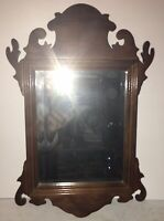 Beautiful Vintage Petite Chippendale Walnut Mirror Original Beveled Glass