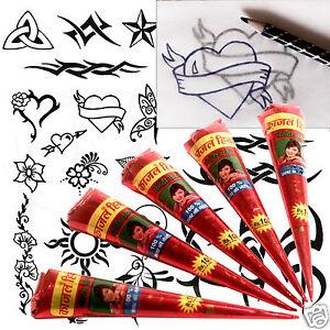 LARGE 5 x tube Henna TATTOO KIT FREEPOST ideal school project Mehndi Eid tt