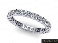 0.55Ct Round Cut Diamond Shared Prong Eternity Band Ring 14k White Gold F VS2