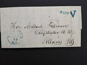New York: Ithaca 1844 Stampless Cover Blue PAID V to Millard Fillmore in Albany