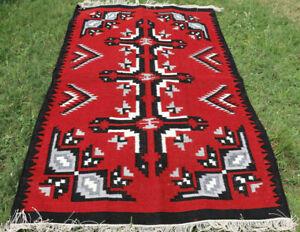Large Wool Kilim Navajo Southwestern Bohemian Red Rug 4'x6' Handmade Rug Antique