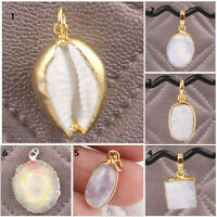 Natural White Cowrie Rainbow Moonstone 24k Yellow Gold Plated Finding Pendant