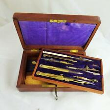 VINTAGE DRAWING INSTRUMENT SET  Antique mahogany BOX + key
