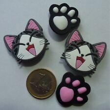 4 x Damen Mädchen XXL Katze Pfote Tatze rosa Schuh Charm Clogs Jibbitz Pin - NEU