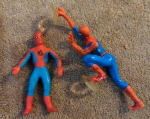 Spiderman lot Vintage 1973 Mego Bend 'n Flex Bendy 2006 Suction Cup DecoPac
